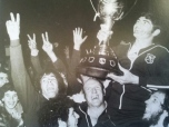 Western Division coach, Johnny King holds the Amco Cup aloft after the country boys' 6-2 win over Penrith in the final of the knock-out competition's inaugural season in 1974. To King's right is cult hero, 'TV Ted' Ellery.